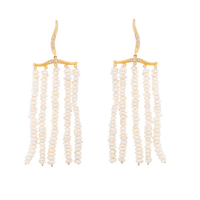 FEMININE WAVES STATEMENT PEARL EARRINGS