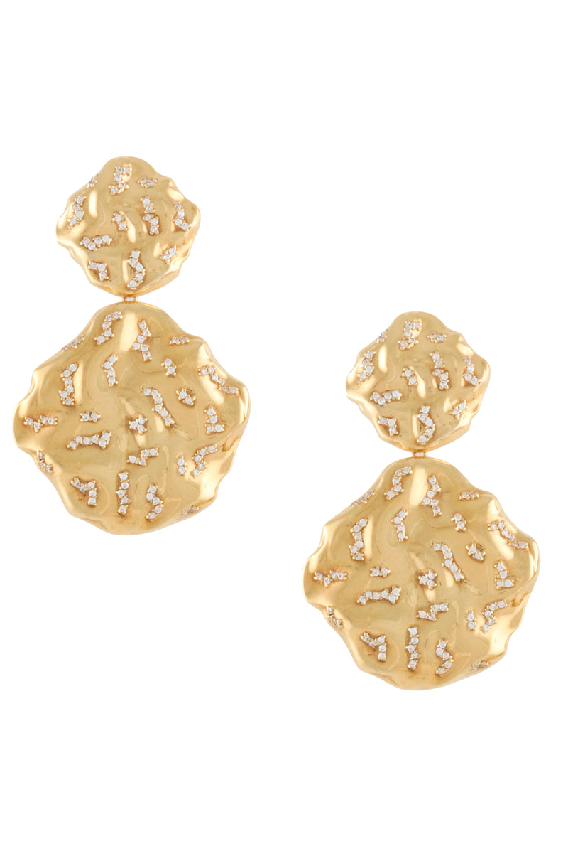 STATEMENT WAVE EARRINGS WITH PAVE