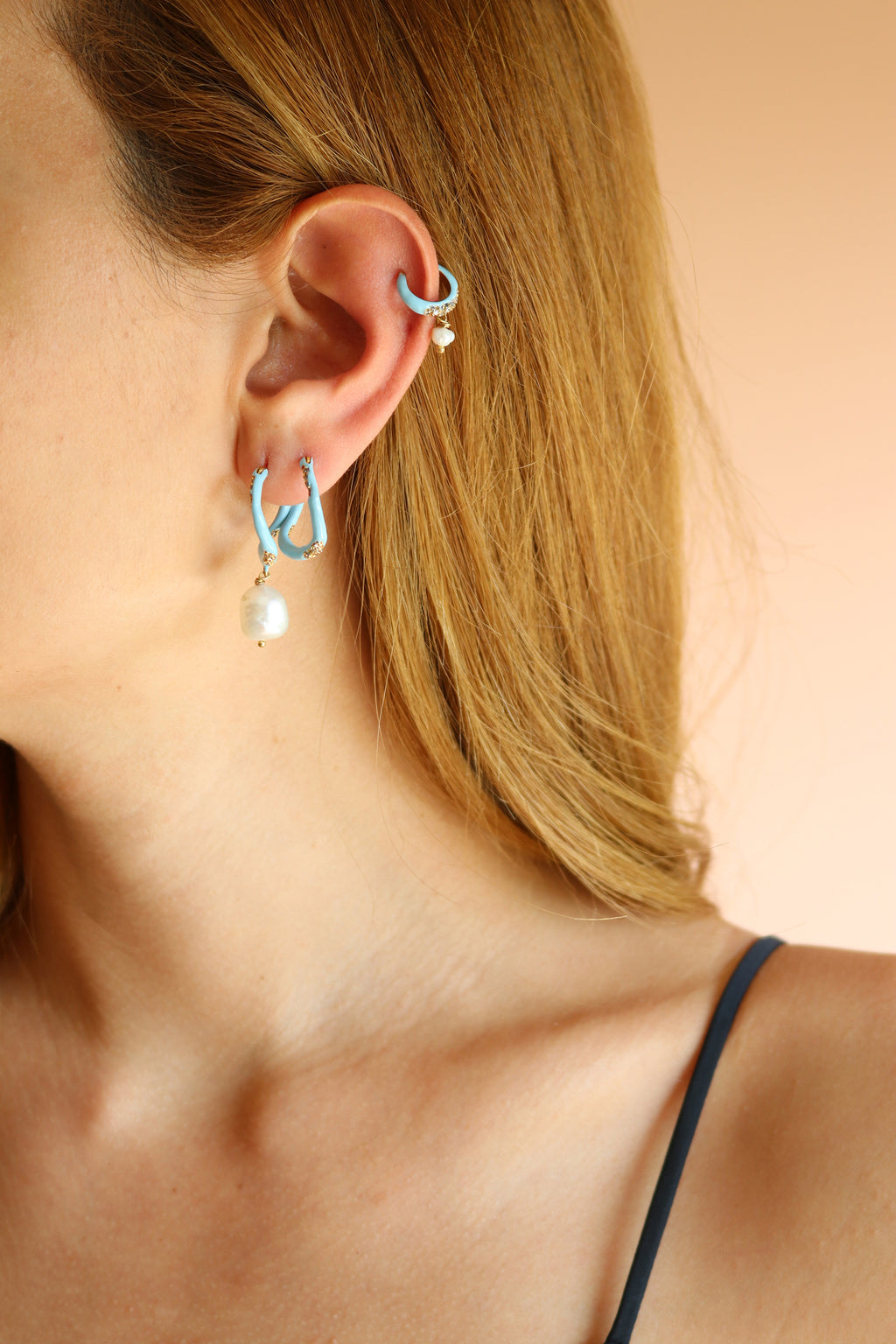 SET OF THREE ENAMEL HOOP EARRINGS