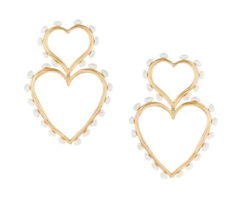 DOUBLE HEART STATEMENT PEARL EARRINGS
