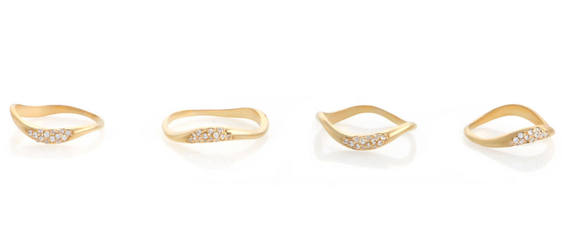 SET OF FOUR FEMININE WAVES PAVE RINGS