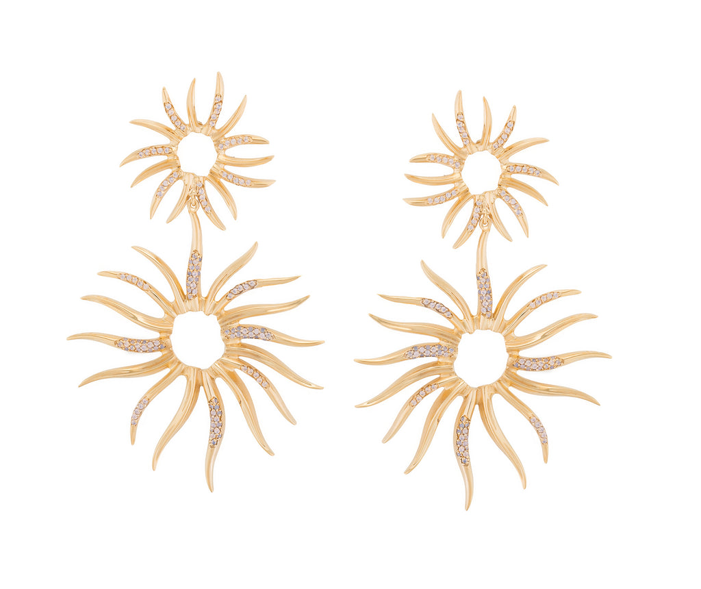 STATEMENT SUN PAVE EARRINGS