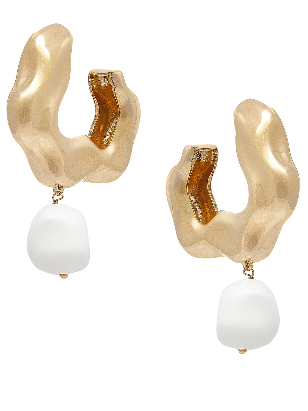 FEMININE WAVES PEARL HOOP EARRINGS