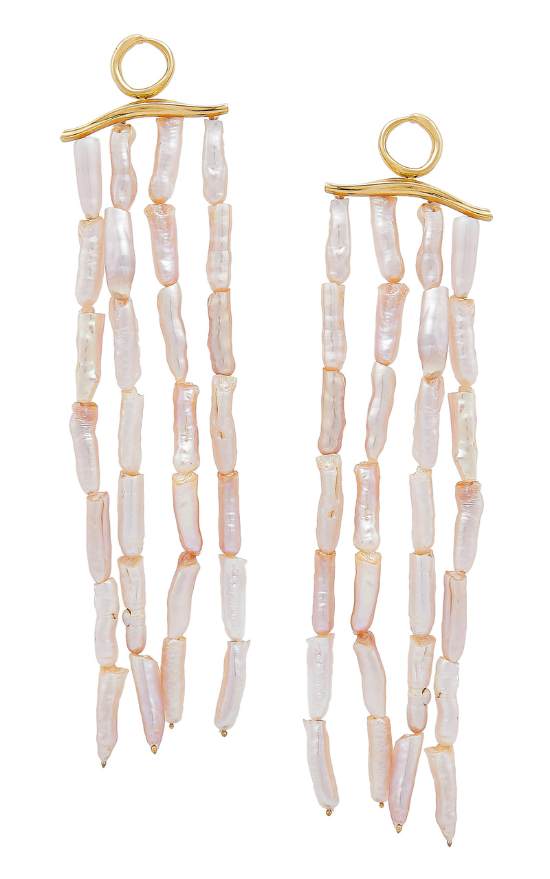WAVE STATEMENT  SHOULDER DUSTER PEARL EARRINGS