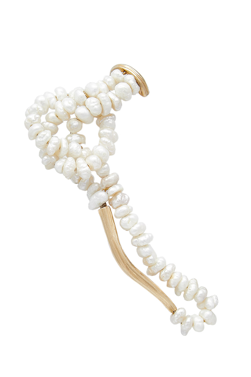 STATEMENT WAVE PEARL EAR-CUFF