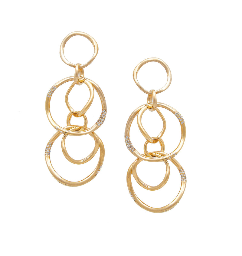 FEMININE WAVES DANGLING RING EARRINGS