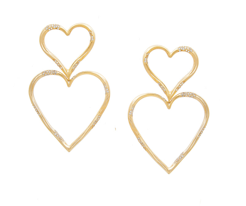 DOUBLE HEART STATEMENT PAVE EARRINGS