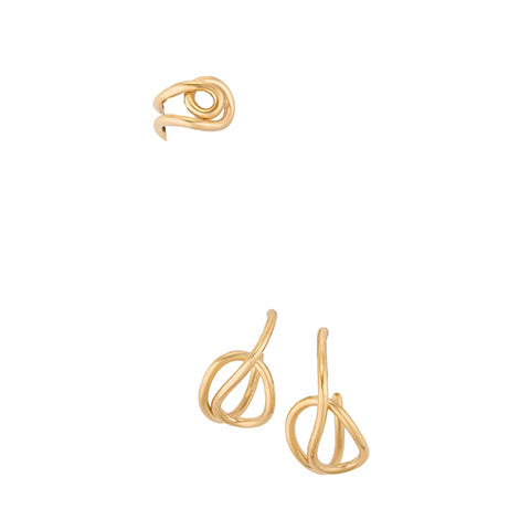 SET OF THREE KNOT HOOP EARRINGS