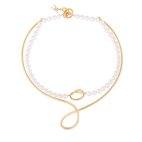SET OF TWO KNOT PEARL CHOKER NECKLACE