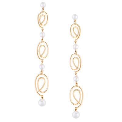 Knot dangling pearl earrings