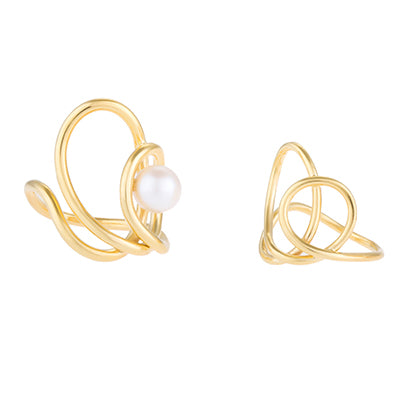 Set of two knot pearl rings