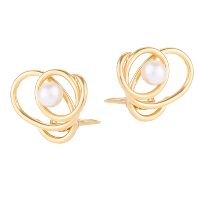 Knot pearl stud earrings
