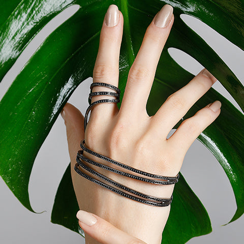 CRISS CROSS  RING HAND-BRACELET