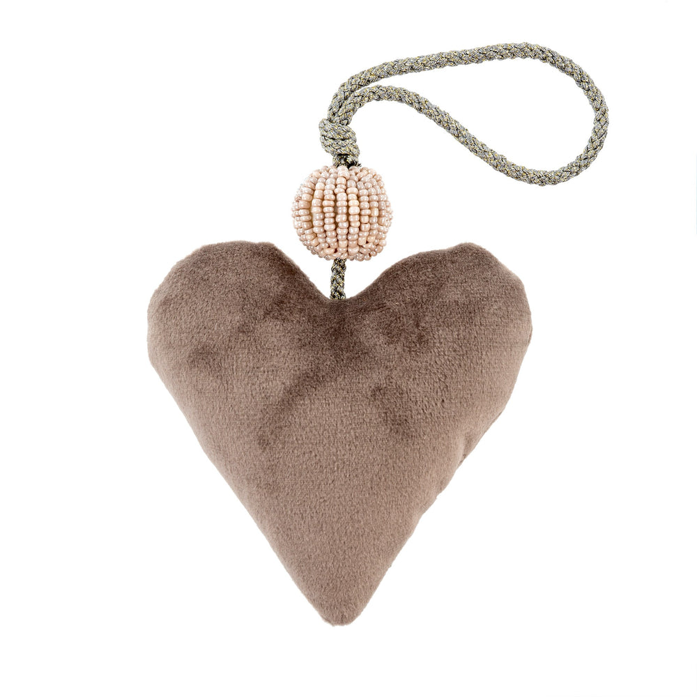 Velvet Heart Ornament - Grey