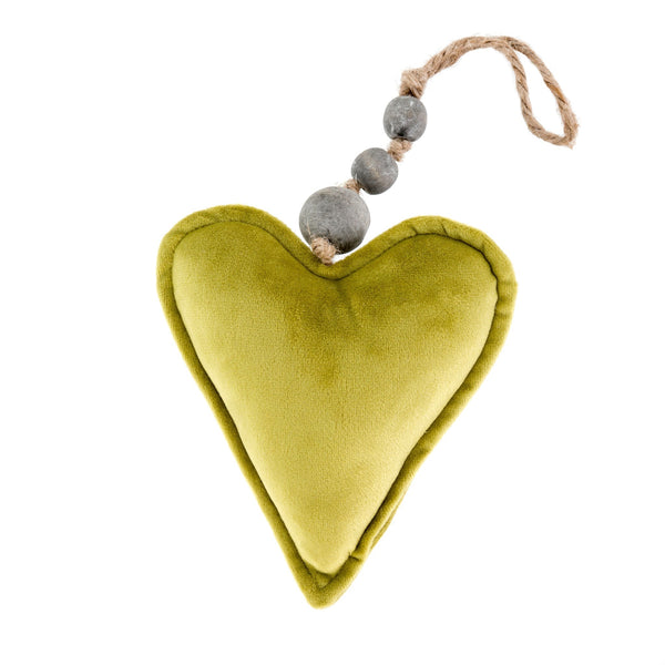 Velvet Heart Ornament - Green