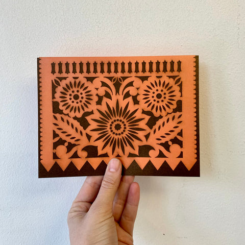"""Papel Picado"" Card - Flor - Shimmering Espresso/Orange"