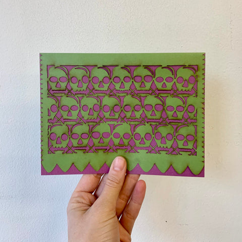 """Papel Picado"" Card - La Calaca - Purple/Green"