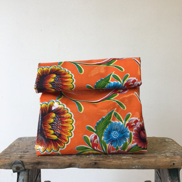 Reversible Lunch Bag - Green/Orange