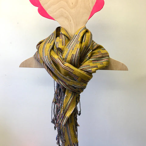 Winter Scarf - Yellow Fringe