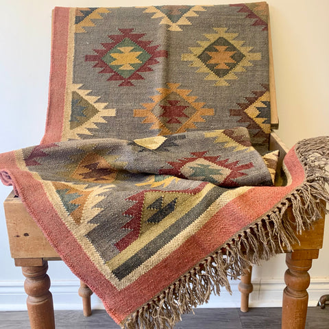 Wool & Jute Kilim - Cloud - 5'x8'