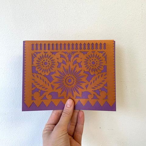 """Papel Picado"" Card - Flor - Purple/Copper"