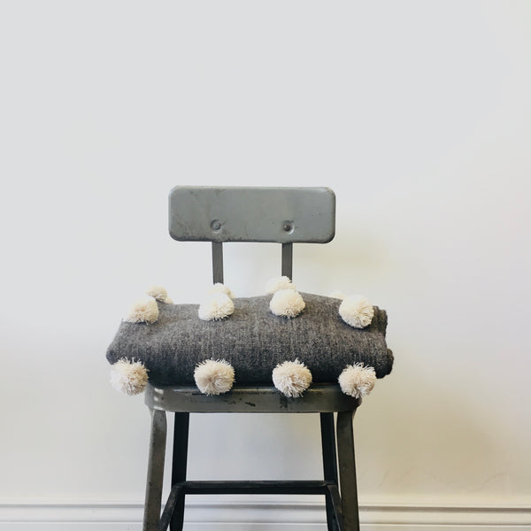 Wool PomPom Throw - Cream