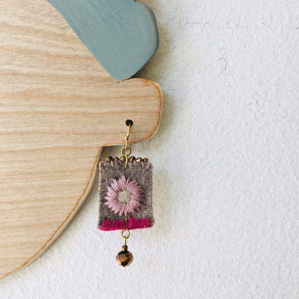 Magnolia Embroidered Felt Earrings