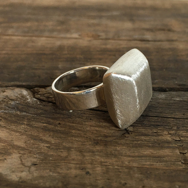 Brushed Silver Ring - Diamond