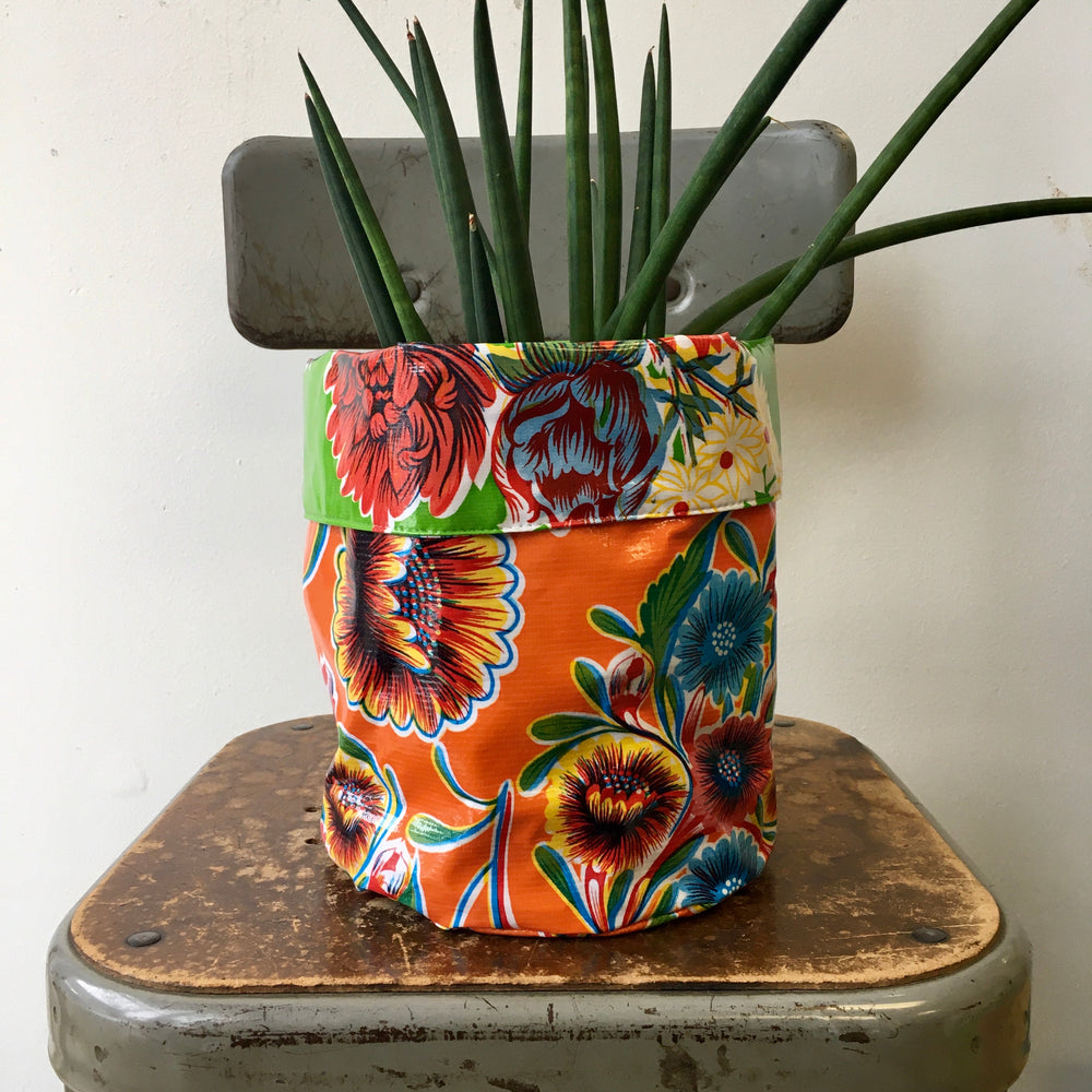 Reversible Oil Cloth Planter Sleeve - Orange/Green