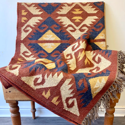 Wool & Jute Kilim - Earth - 5'x8'
