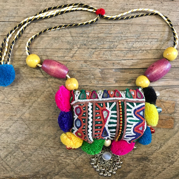 Indian Fabric Necklace #1
