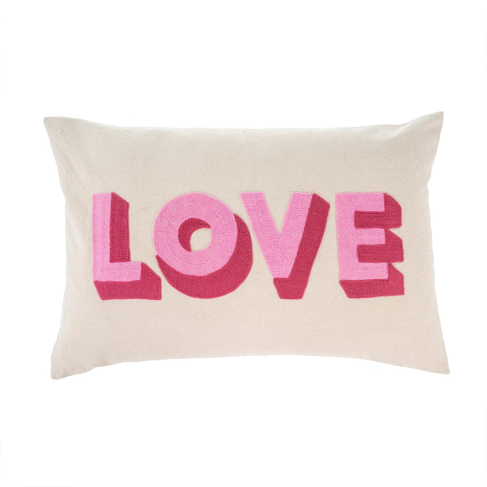 LOVE Embroidered Pillow - Pink