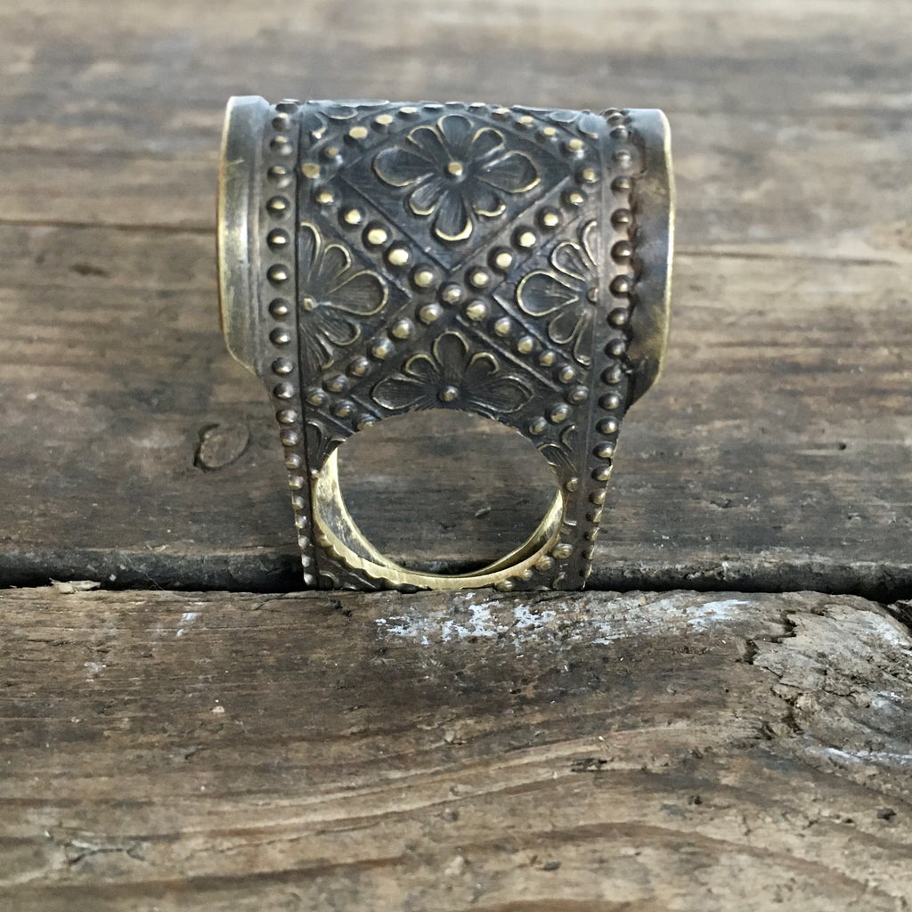 Embossed  Brass Ring #2 - Size 7.5