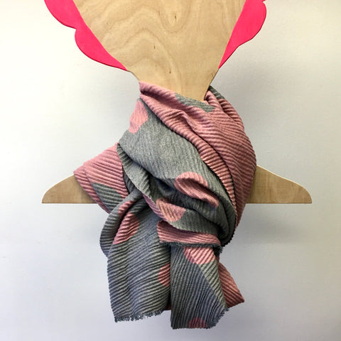 Winter Scarf - Pink/Grey Polka Dot