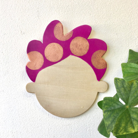 Happy Head Wall Decor - Purple/Copper