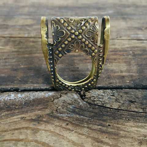 Embossed  Brass Ring #1 - Size 7.5