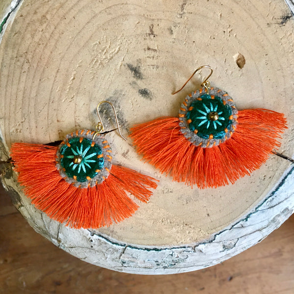 Ginger Embroidered Felt Earrings