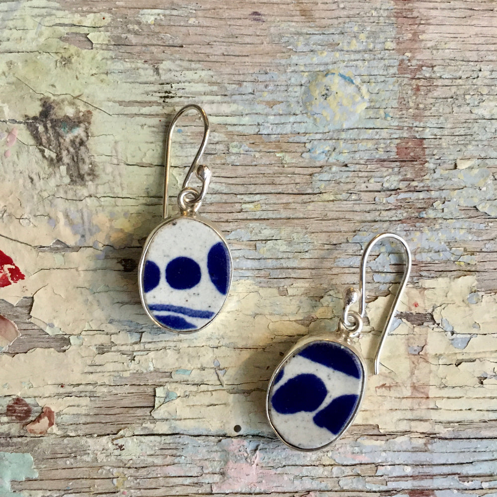 Silver Encased Ceramic Earrings - #18