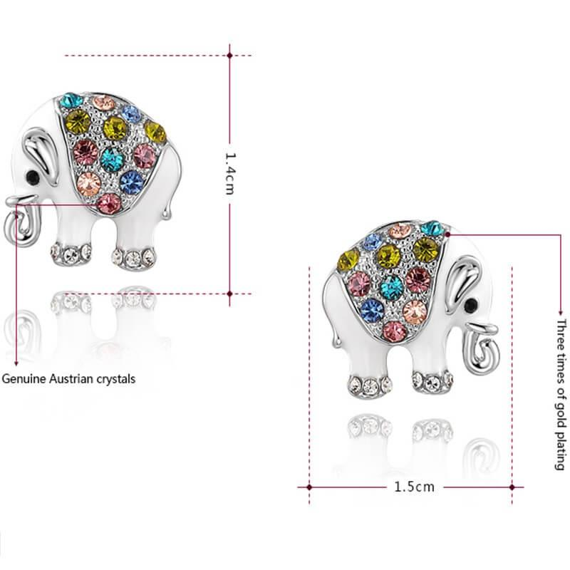 Cute Elephant Crystal Stud Earrings