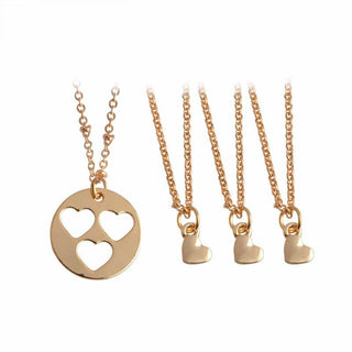 4 Pieces Set Mother Daughters Heart Necklaces (includes 4 necklaces)