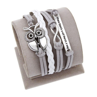 """Where There's A Will, There's A Way"" Owl Infinity Bracelet"