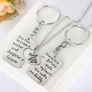 Dad-Daughter-Mom Pendant Necklace & Keychains (3 Piece Set)