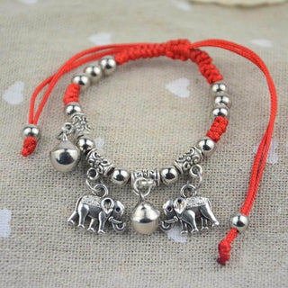 Elephant Red String Charm Bracelet