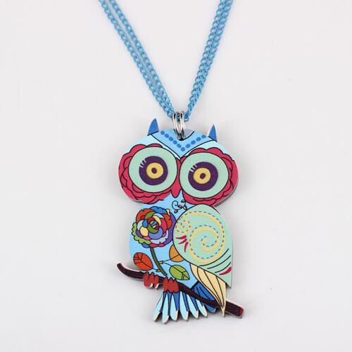 Colorful Owl On Branch Pendant Necklace