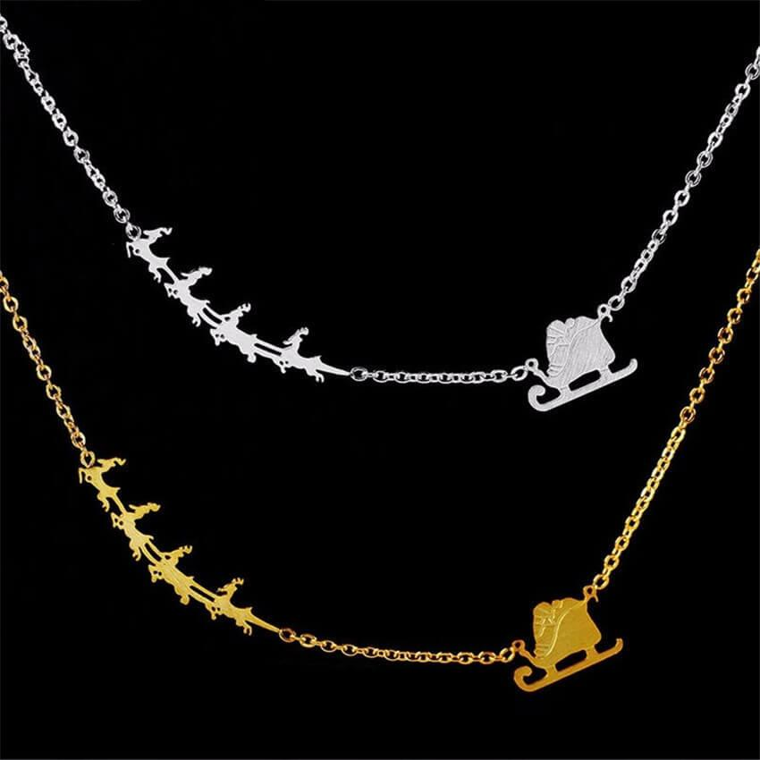 Santa Claus And Reindeers Friendship Pendant Necklaces