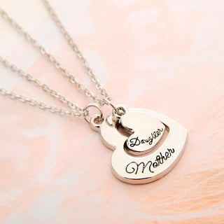 Mother & Daughter Double Heart Pendant Necklace  (includes 2 necklaces)