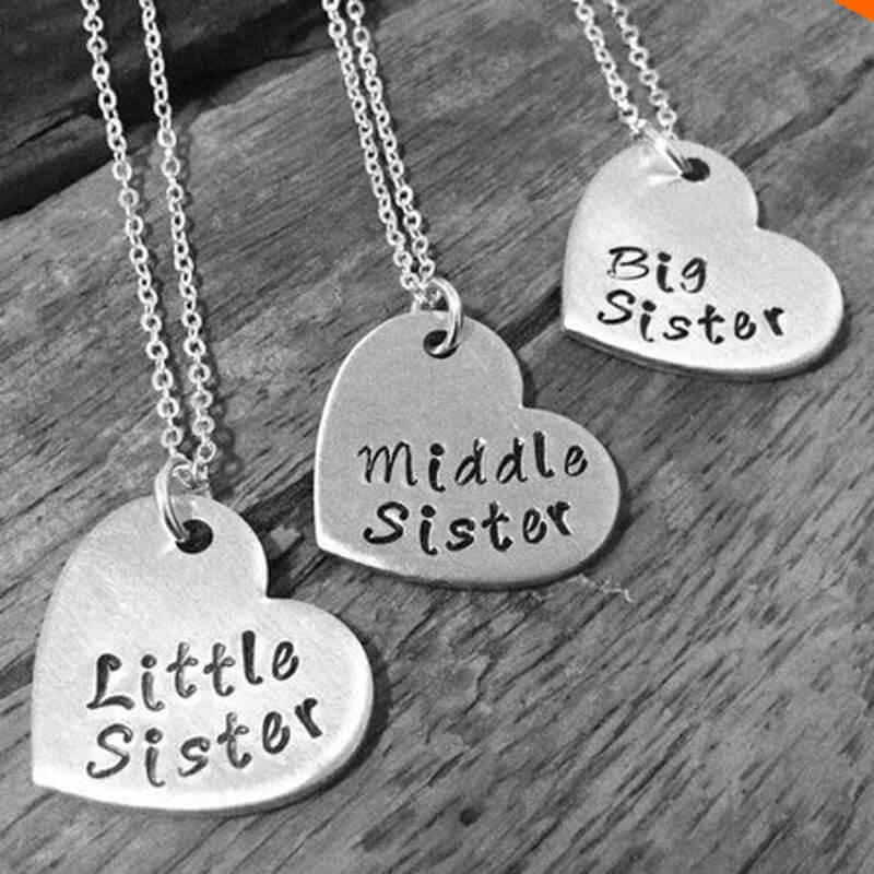 """Little Sister, Middle Sister, Big Sister"" Necklace Set  (includes 3 necklaces)"