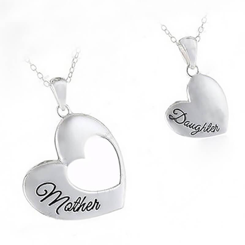 Mom & Daughter Double Heart Pendant Necklace (includes 2 necklaces)