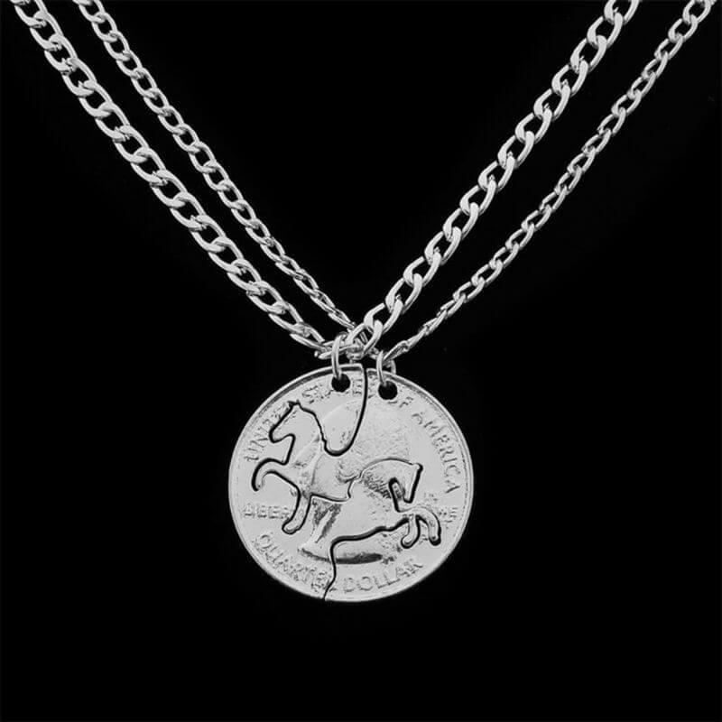 2 Piece Horses Split Pendant Necklaces (includes 2 necklaces)