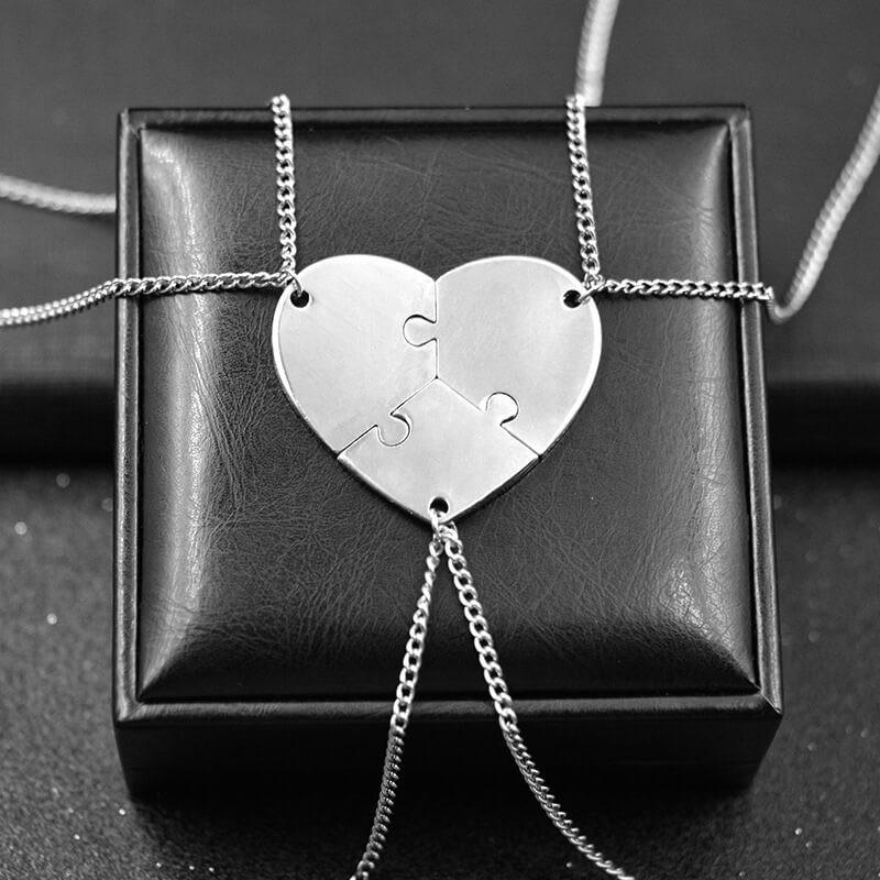 3 Puzzle Pieces Heart Pendant Necklaces (includes 3 necklaces)